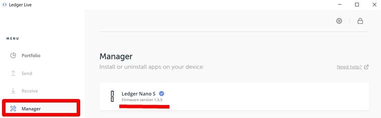 Ledger Nano S(レジャーナノS)のファームウェア1.5.5へのアップデートの確認